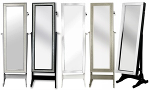 Full-Length Cheval Mirror Jewelry Armoire