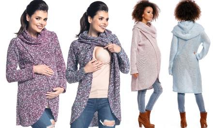 Langer Pullover mit Kapuze und in Wickel-Optik für Schwangere und stillende Mütter in der Farbe nach Wahl (Duesseldorf)
