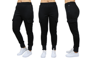 Groupon.com deals on Womens Fleece-Lined Cargo Jogger Sweatpants