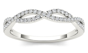1/6 CTTW Diamond Criss Cross Wedding Band in 10K Gold by De Couer
