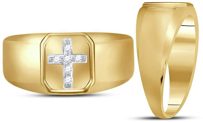 48df31f0cfc16 Up To 39% Off on Diamond Cross Ring in 10K Gold | Groupon Goods