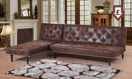 charles victorian premium faux leather sofa bed
