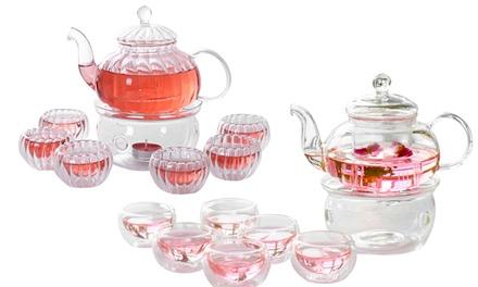 $26.90 for an 9-Piece Glass Tea Pot Set (worth $49.90). 2 Designs