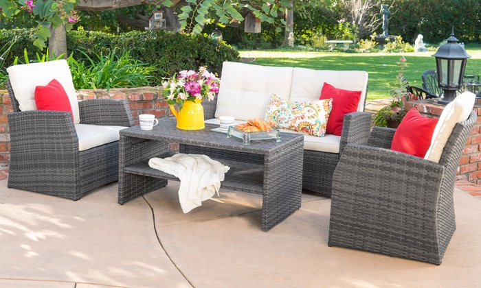 Roswell Outdoor Sofa Set (4-Piece): Roswell Outdoor Wicker Sofa Set (4-Piece)