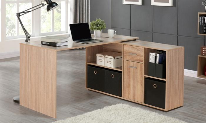 flexi corner desk with storage groupon. Black Bedroom Furniture Sets. Home Design Ideas