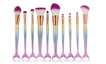 Set van 5 of 10 makeup borstels in regenboogkleuren