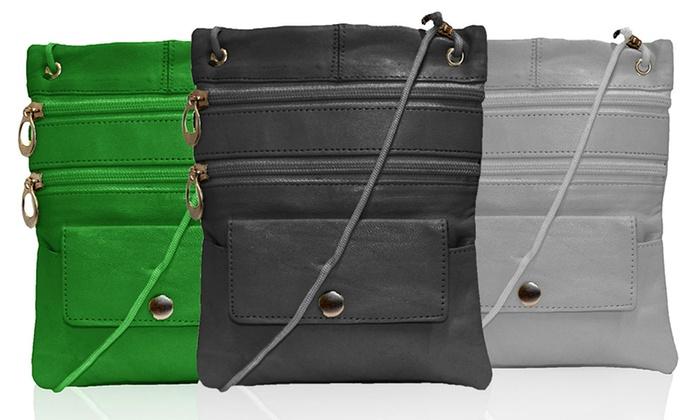 Multi-Pocket Leather Crossbody Bag or Wallet