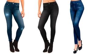 (Mode) 3 ou 6 leggings effet jean fourré -65% réduction