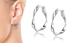 Boucles d'oreilles créoles argent Philip Jones