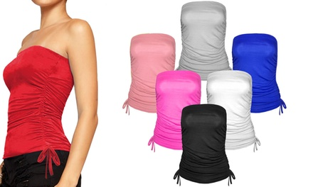 Ruched Drawstring Tube Top