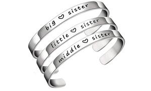 Bracelet  gravé en acier pour sœur