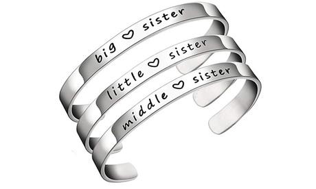 1,2 ou 3 bracelets gravés en acier pour sœur