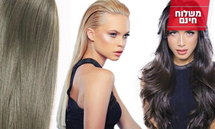 "cha-cha - Merchandising (IL): תוספות שיער ""קשת הקסמים"" של fiber, במגוון צבעים לשיער חלק או גלי, משלוח חינם"