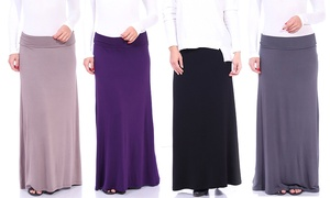 Women's Convertible Fold-Over Maxi Skirt. Plus Sizes Available.