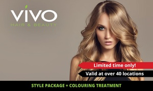 Vivo Hair and Beauty: $159 for Cut or Style Pkg + Balayage, Ombre or Dip-Dye Colour at Vivo Hair and Beauty, 43 Locations (Up to $314 Value)