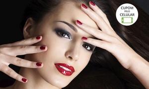 Esmalteria Pink Express: Esmalteria Pink Express – Mont Serrat: maquiagem (opção com escova modeladora, design de sobrancelha e manicure)