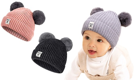 One or Two Double Bobble Baby Winter Beanies