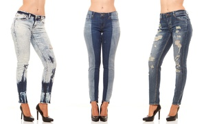 Red Jeans Women's Skinny Destroyed Faded Denim Jeans