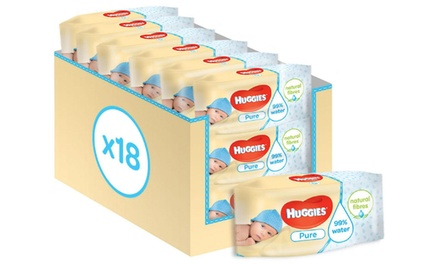 18 Packs of Huggies Pure Water Natural Fibre Wipes
