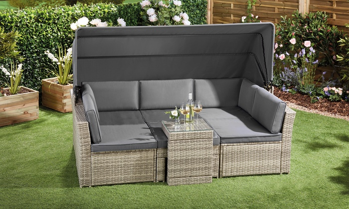 California Rattan-Effect Daybed with Canopy and Optional Cover