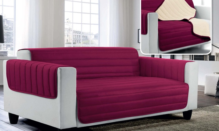 Outstanding Quilted Sofa Cover Groupon Goods Caraccident5 Cool Chair Designs And Ideas Caraccident5Info