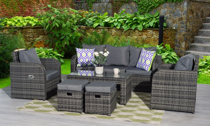 Yakoe Chicago Nine Seater Rattan Effect Reclining Set In