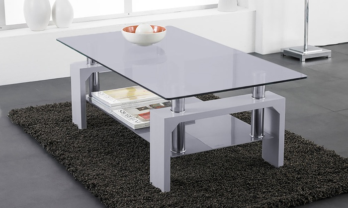 Rectangular Glass Coffee Table in Choice of Colour from £47.99