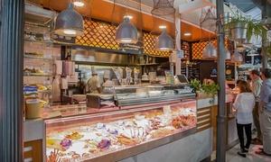 La Pescadoteca: Menú de pescado frito variado para 2 personas con 2 copas de sangria o de tinto de verano por 22,99€ en La Pescadoteca