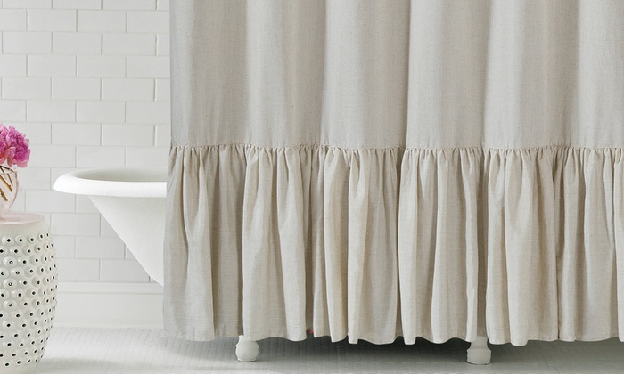 Gabriella 72x72 Ruffle Bottom Fabric Shower Curtain