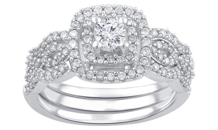 0.68 CTTW Diamond Bridal Ring Set in 10K White Gold by Brilliant Diamond