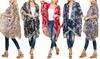 Women's One-Size Butterfly & Floral Print Tassel-Trim Kimono