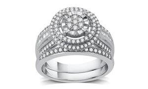 3/4 CTTW Diamond Medallion Cluster Bridal Set in Sterling Silver