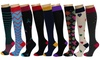 REXX Women's Knee-Length Patterned Compression Socks (3-Pack)