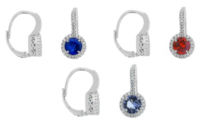 Crystal Leverback Earrings with Swarovski Elements in Sterling Silver