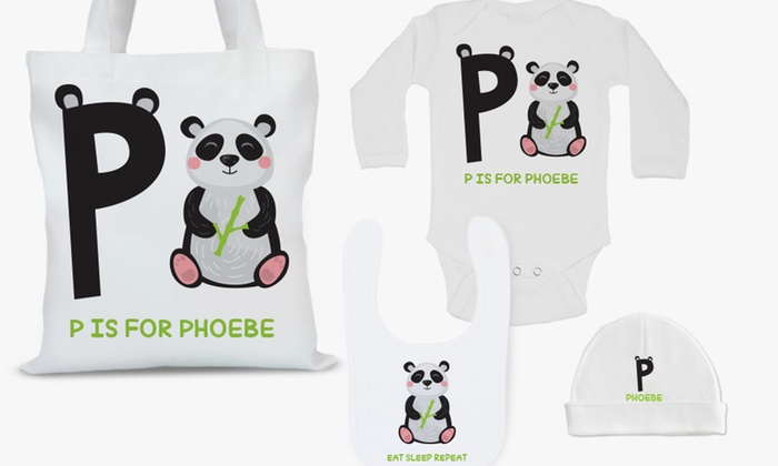 Monogram Online: Personalized Tote Bag, Baby Bib, Baby Cap, Infant Romper, or All Four from Monogram Online (Up to 75% Off)