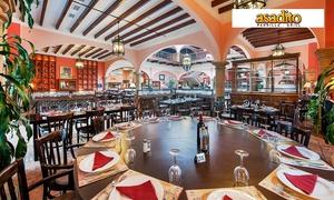 Asadito: Menú para 2 o 4 personas con aperitivo, surtido de entrantes, principal con guarnición y postre desde 34,95 € en Asadito
