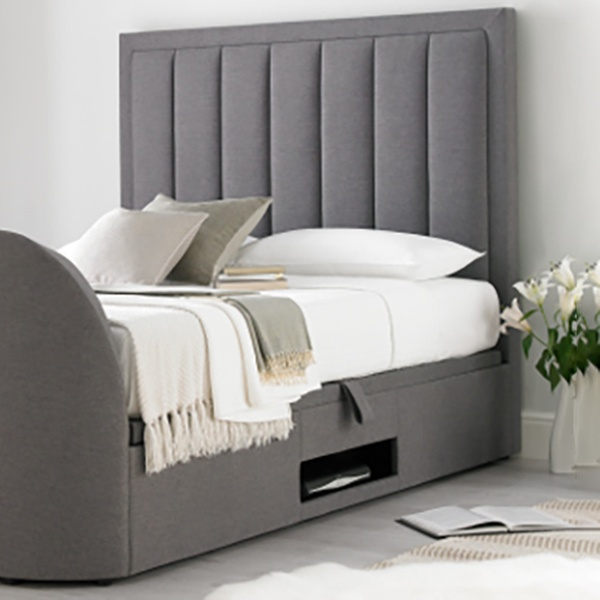 Surprising Ventura Grey Fabric Ottoman Tv Bed With Optional Mattress With Free Delivery Andrewgaddart Wooden Chair Designs For Living Room Andrewgaddartcom