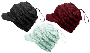 Ponytail or High Bun Knitted Beanie Hat with Visor