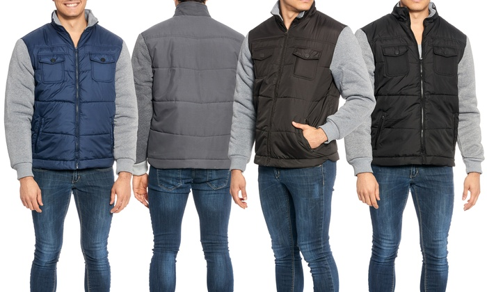 Men's Multi-Pocket Quilted Bomber Jacket with Stand Collar