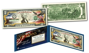 Veterans Day $2 Bill with Authenticity Certificate