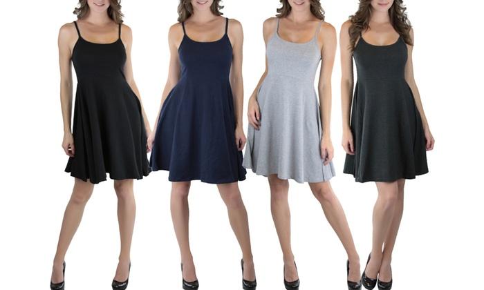 Women's Basic Skater Dress: Women's Basic Skater Dress