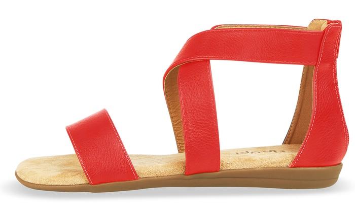 74d561b8504 Floopi Women's Summer Criss-Cross Gladiator Ankle-Strap Flat Sandals ...
