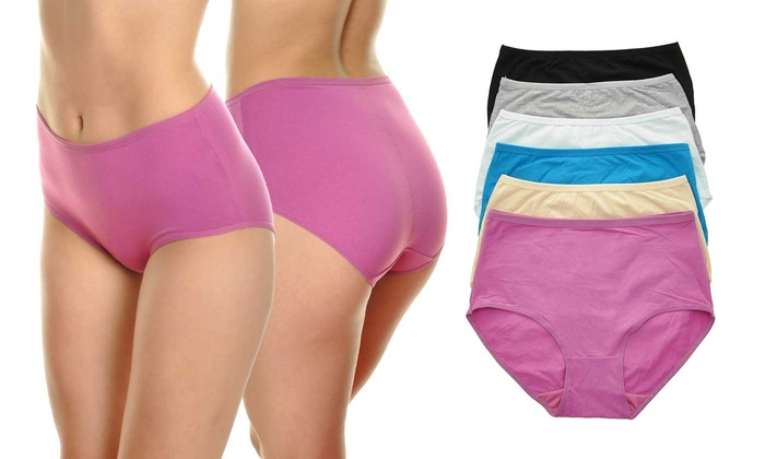 93b362e15344 High-Rise Cotton-Blend Brief Panties with Back Ruching (6-Pack) | Groupon