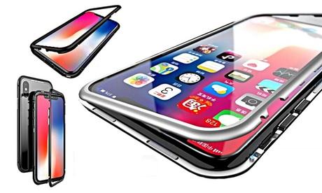 Cover con retro in vetro temperato per vari modelli di iPhone, disponibile in 3 colori
