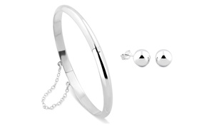 Solid Sterling Silver Bangle and Studs Set (3-Pc.) at Solid Sterling Silver Bangle and Studs Set (3-Pc.), plus 6.0% Cash Back from Ebates.