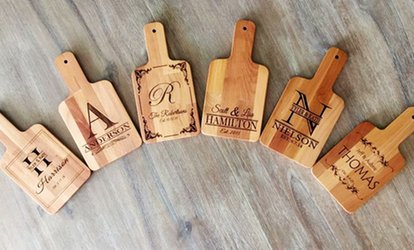 image for Personalized Handled Serving Boards from Qualtry (Up to 87% Off ). Six Options Available.