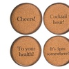 Lid Coasters Printed with Different Sayings (Set of 4)