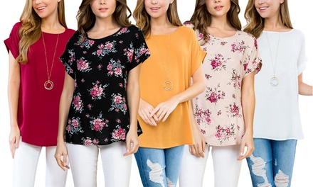 Riah Fashion Women's Roll-Up Sleeve Blouse. Plus Sizes Available.