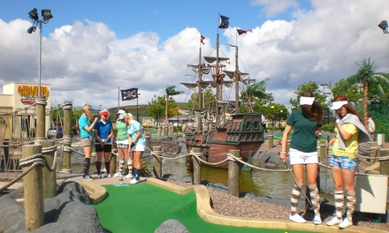18 Holes of Adventure Golf with Hot Drink or Golf Visor for Two or Four at Adventure Golf Island