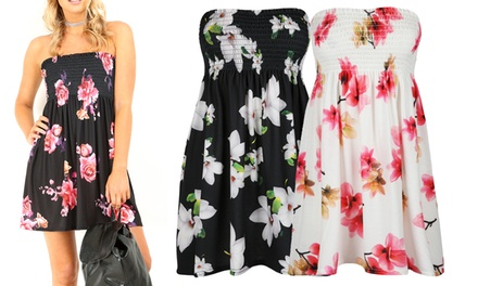 Be Jealous Boob Tube Floral Dress Available up to Size 22